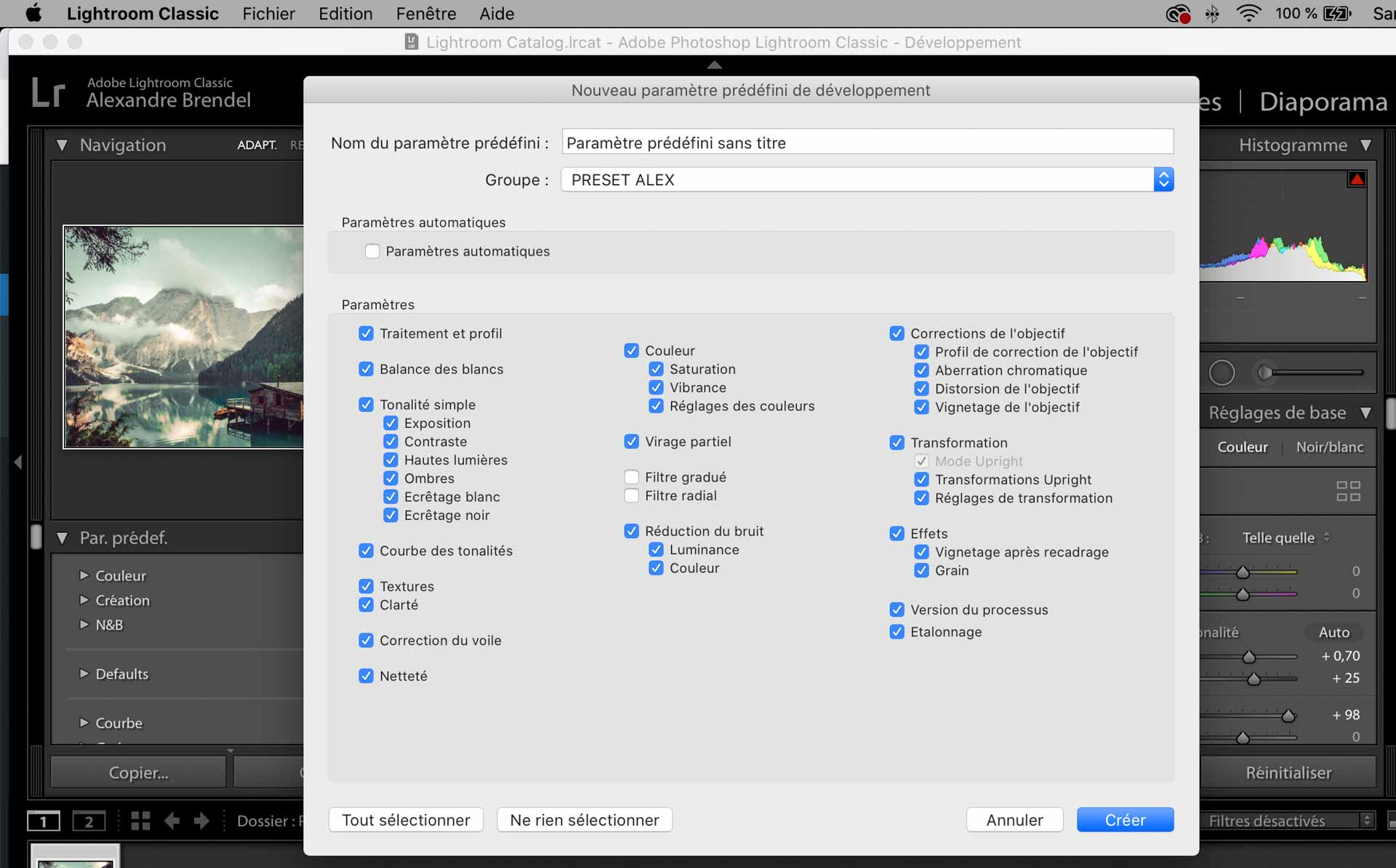 preset lightroom installer creer